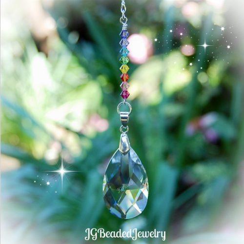 Pastel Rainbow Teardrop Prism Crystal Suncatcher