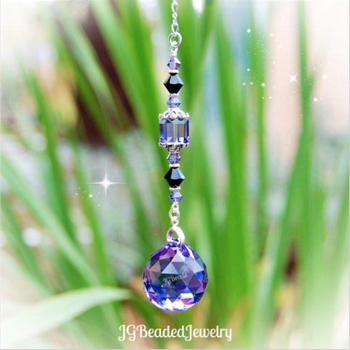 Swarovski Crystal Suncatcher Purple and Black