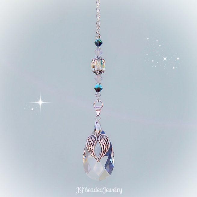 Teardrop Angel Wing Turquoise Opal Swarovski Crystal Suncatcher