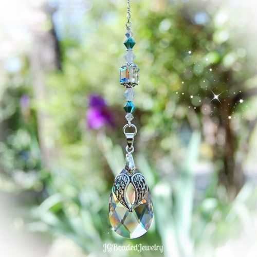 Angel Wing Turquoise Opal Suncatcher