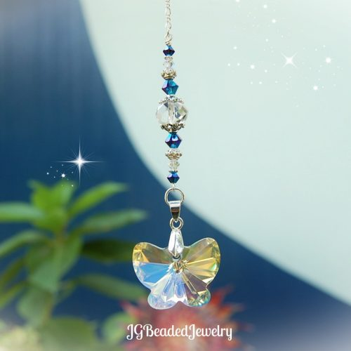 Blue Iris Butterfly Crystal Suncatcher