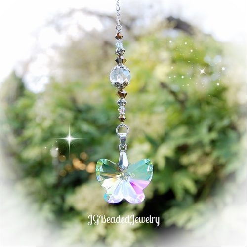 Gold Butterfly Crystal Suncatcher