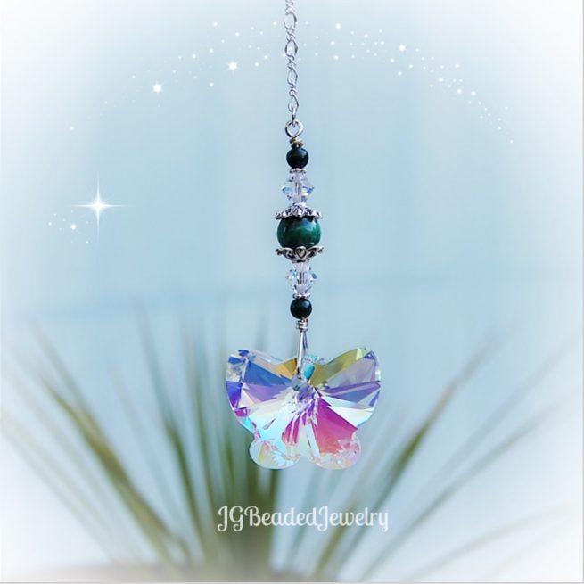 Green Malachite Gemstone Swarovski Crystal Butterfly Suncatcher