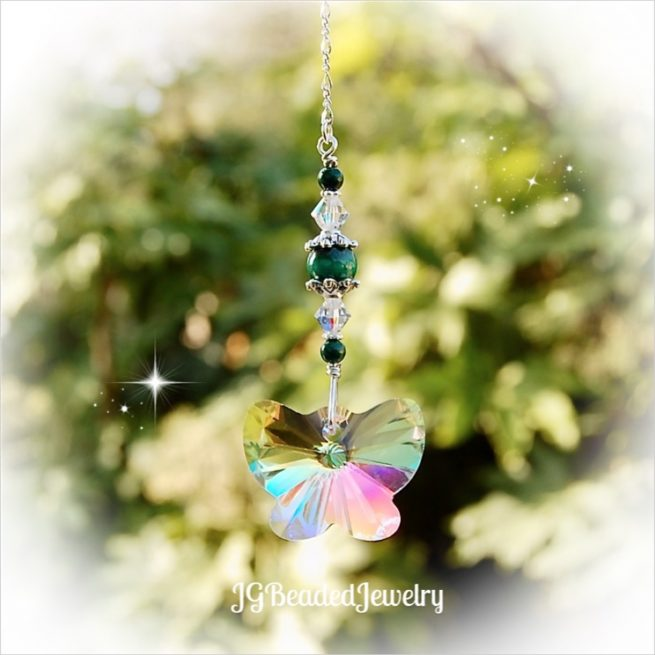 Green Malachite Gemstone Butterfly Crystal Suncatcher