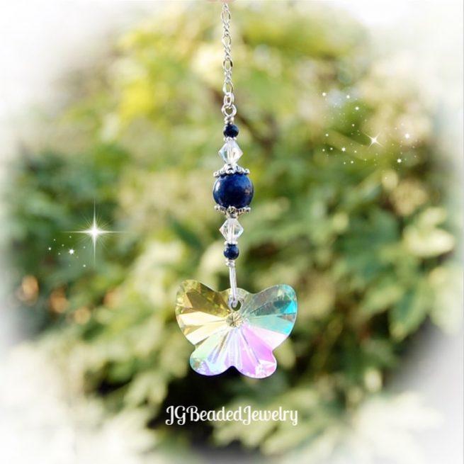 Lapis Lazuli Butterfly Crystal Suncatcher