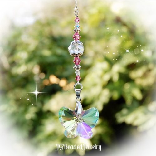 Pink Butterfly Crystal Suncatcher