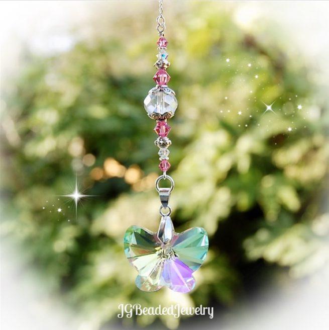Pink Butterfly Crystal Suncatcher