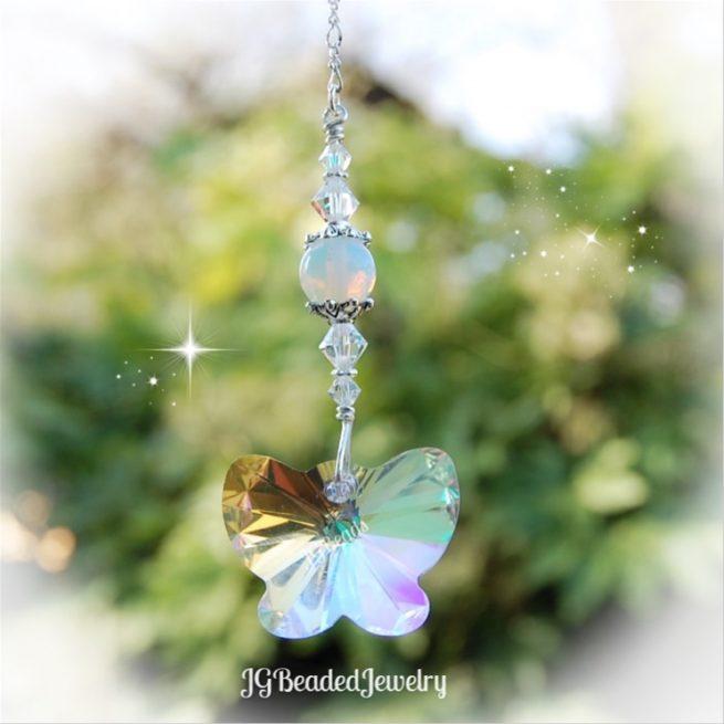 Swarovski Sea Opal Butterfly Crystal Suncatcher