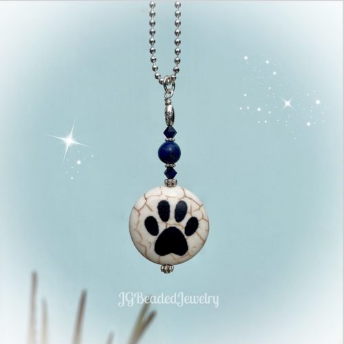 Paw Pendant Lapis Lazuli Blue Swarovski Charm