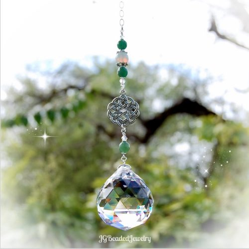 Celtic Knot Gemstone Crystal Suncatcher