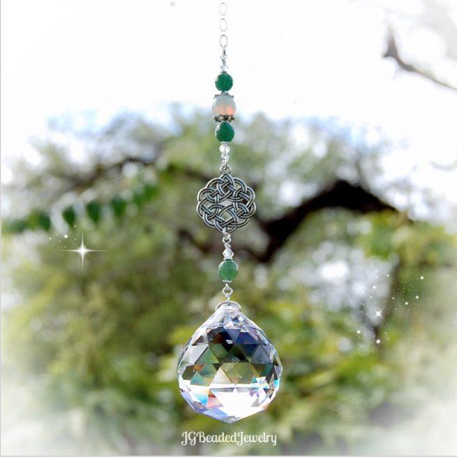 Celtic Knot Gemstone Crystal Suncatcher