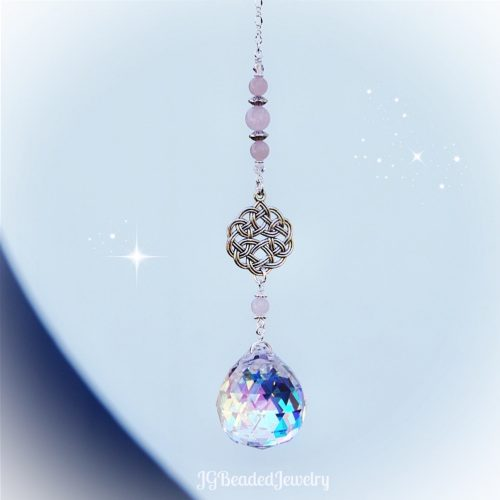 Celtic Knot Rose Quartz Crystal Suncatcher