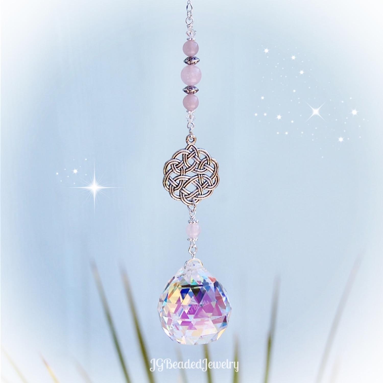 Rose Quartz Crystal Sun Catcher