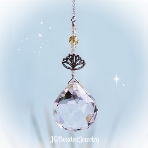Golden Shadow Lotus Crystal Suncatcher