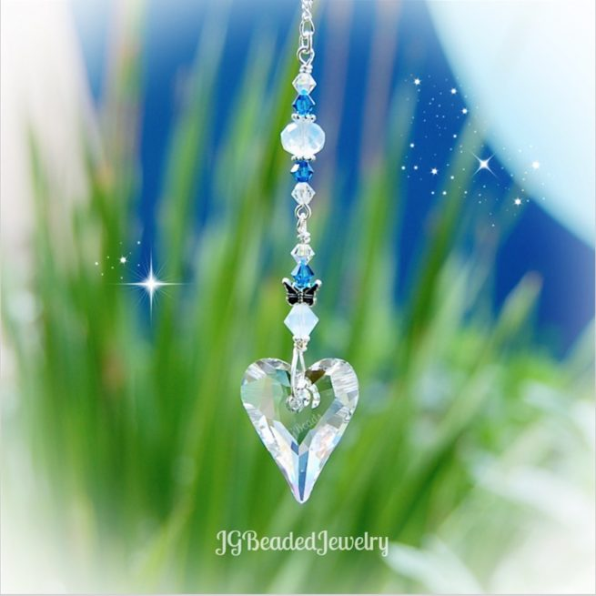 Opal Blue Swarovski Heart Butterfly Crystal Suncatcher