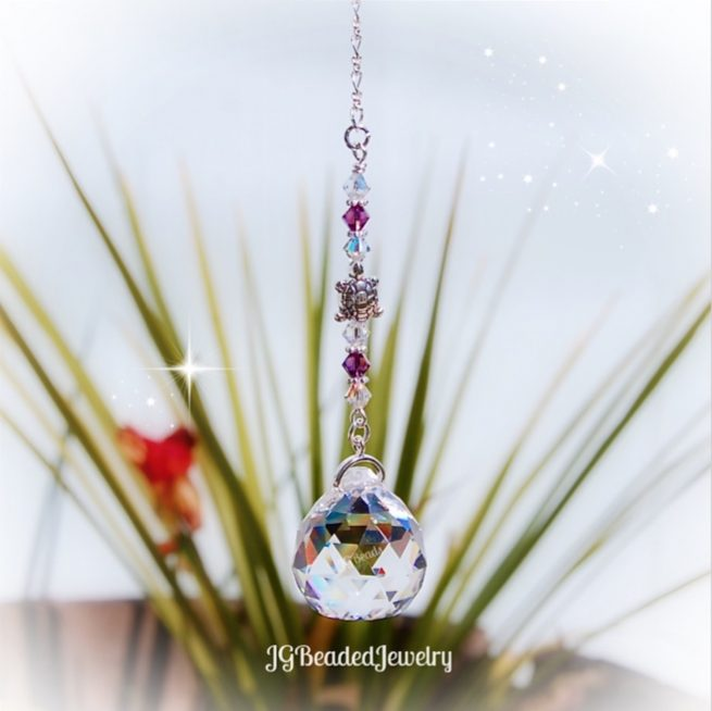 Purple Amethyst Turtle Crystal Suncatcher