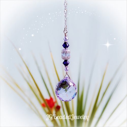 Purple Swarovski Crystal Suncatcher Prism