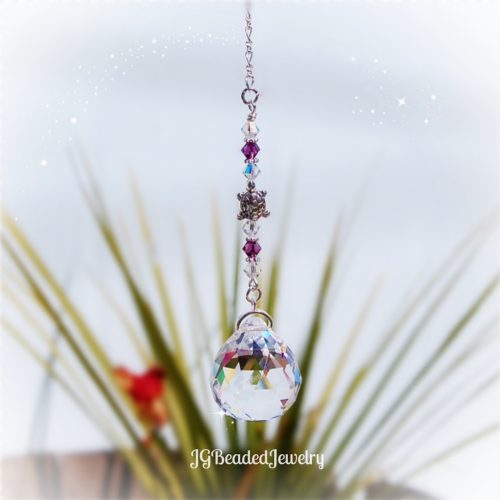 Amethyst Purple Turtle Crystal Suncatcher