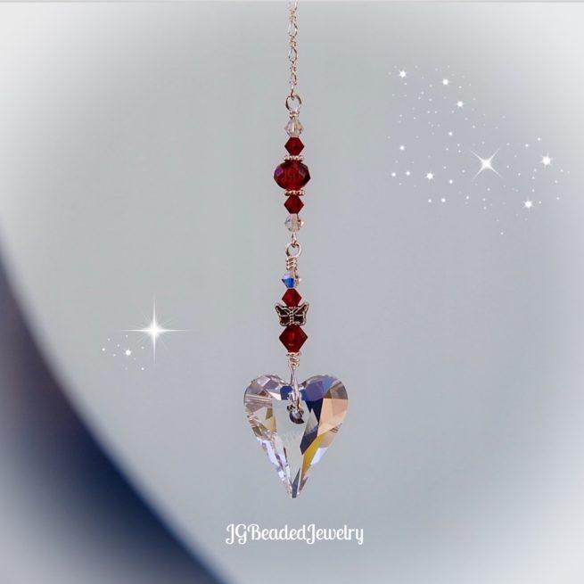 Red Heart Butterfly Swarovski Crystal Suncatcher