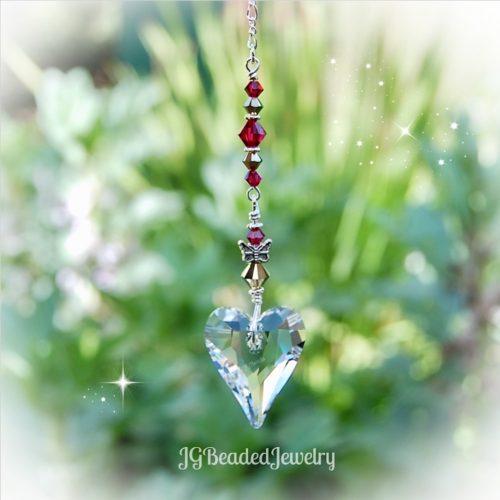 Ruby Gold Heart Butterfly Swarovski Crystal Suncatcher