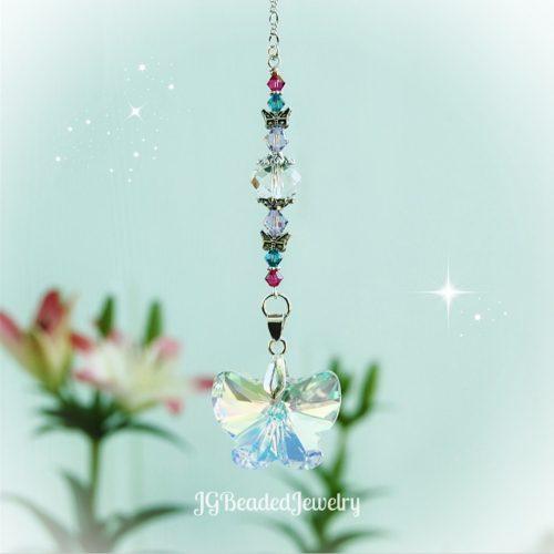 Violet Pink Teal Hanging Butterfly Suncatcher