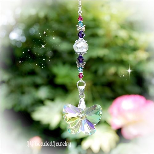 Teal Pink Purple Butterfly Crystal Suncatcher
