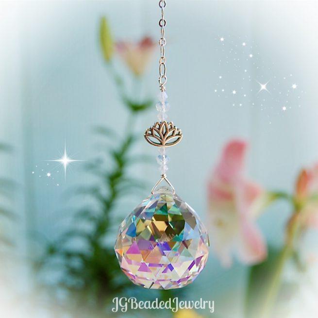 Lotus Flower Prism Crystal Suncatcher