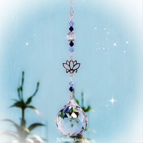 Purple Lotus Flower Crystal Suncatcher