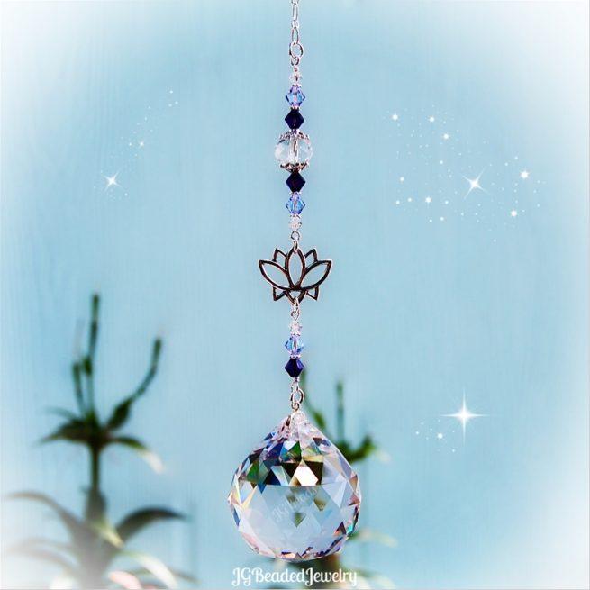 Purple Lotus Flower Crystal Suncatcher