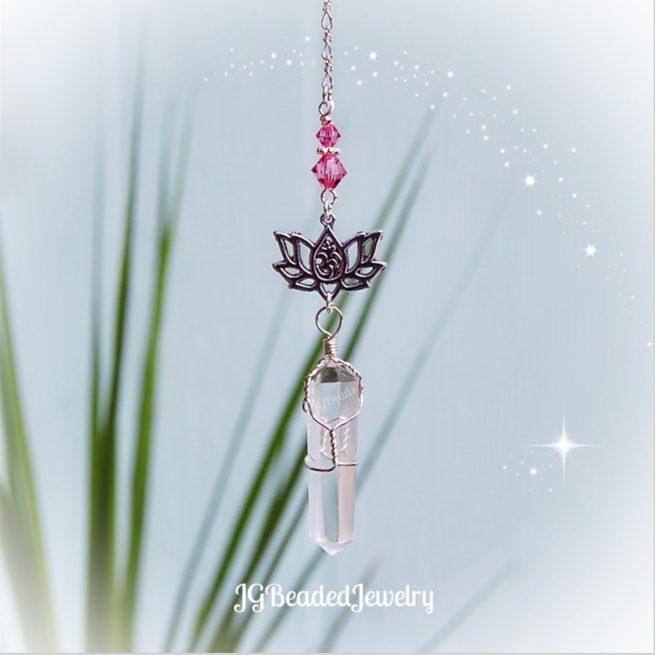 Om Lotus Flower Quartz Crystal Decoration