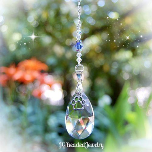 Blue Paw Crystal Suncatcher