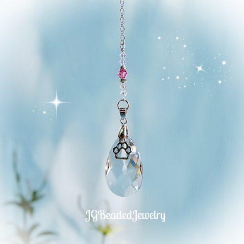 Pink Paw Crystal Suncatcher