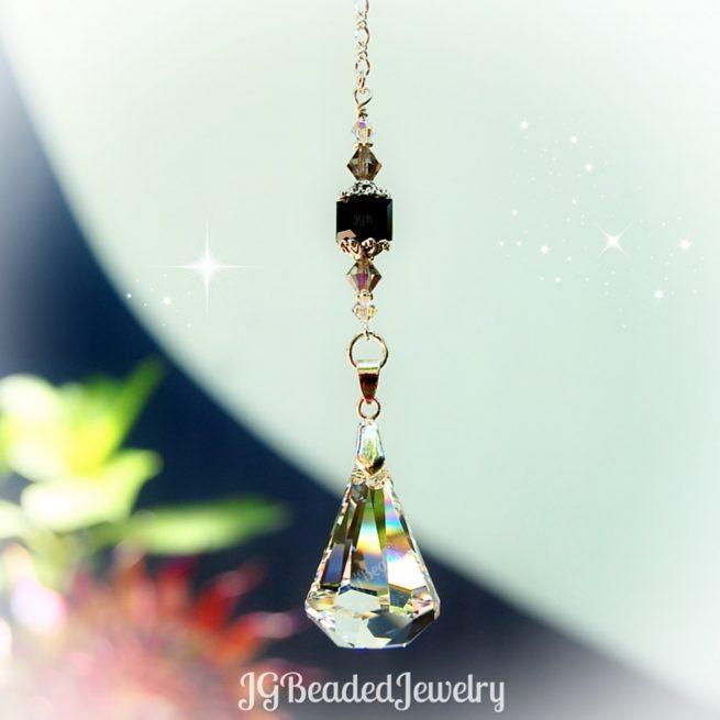 Black Diamond Swarovski Crystal Raindrop Suncatcher