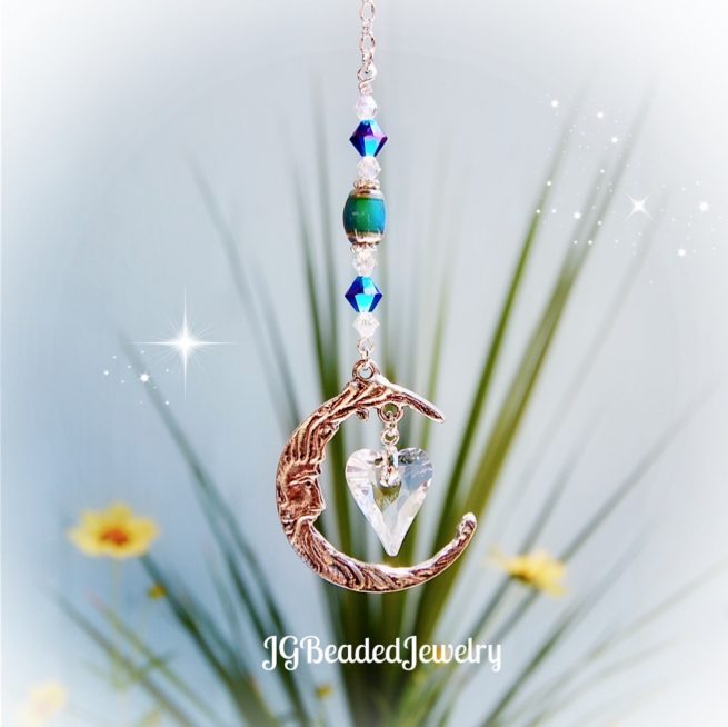 Love You To The Moon And Back Swarovski Heart and Mood Bead Decoration
