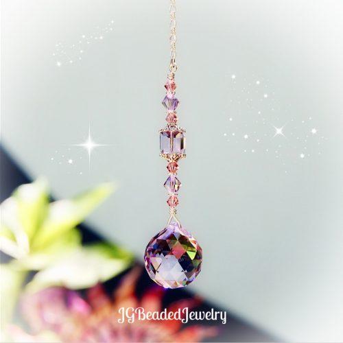 Pink Purple Swarovski Crystal Suncatcher