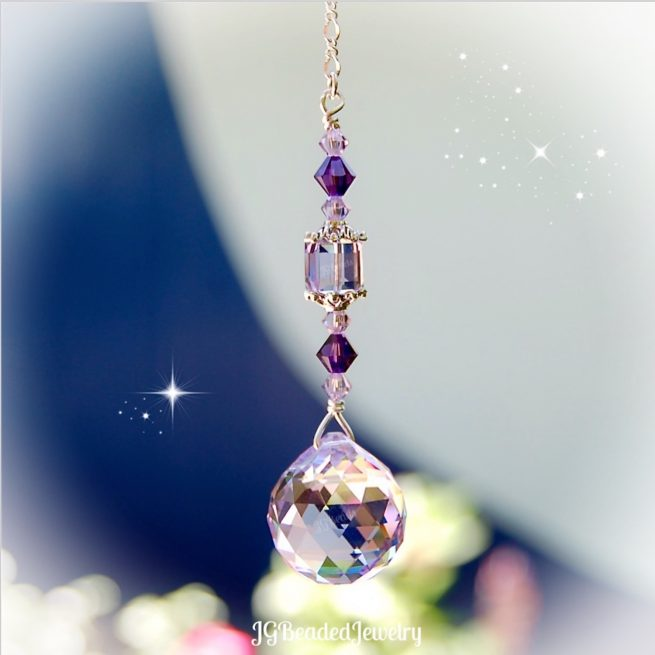 Purple Violet Swarovski Crystal Suncatcher