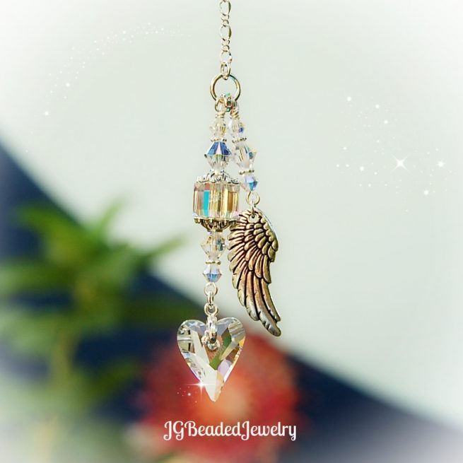 Angel Wing Heart Swarovski Crystal Suncatcher
