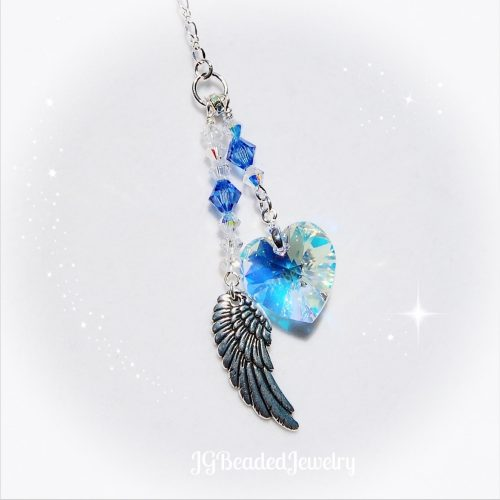 Birthstone Angel Wing Heart Swarovski Suncatcher