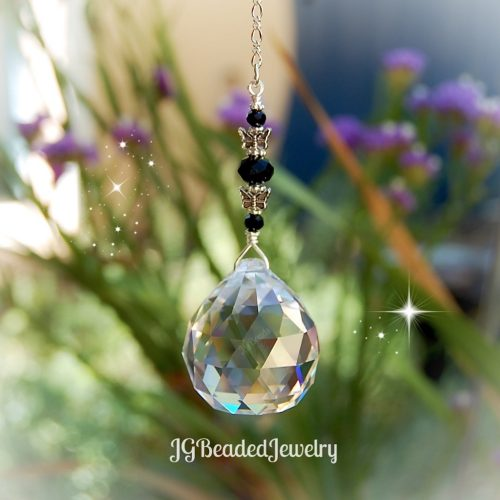 Black Butterfly Crystal Suncatcher