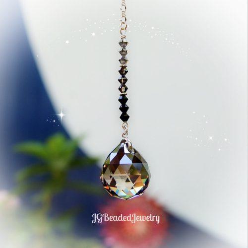 Black Silver Ombre Prism Crystal Suncatcher