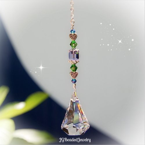 Celtic Heart Swarovski Raindrop Crystal Suncatcher