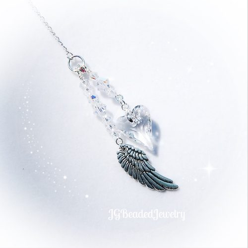 Crystal Heart Angel Wing Swarovski Suncatcher
