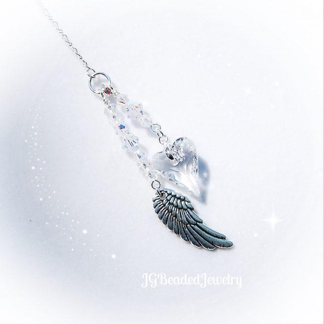 Crystal Heart Angel Wing Swarovski Suncatcher