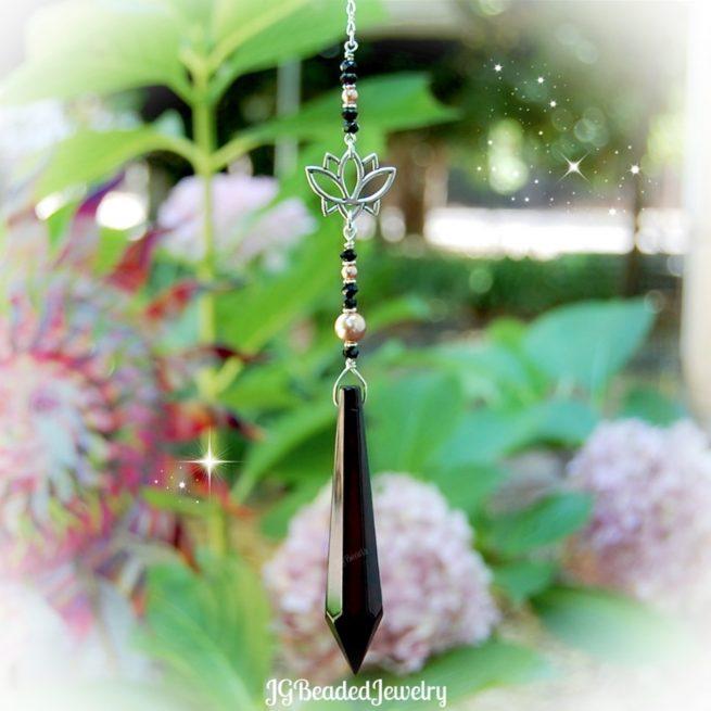 Lotus Flower Black Teardrop Crystal Suncatcher