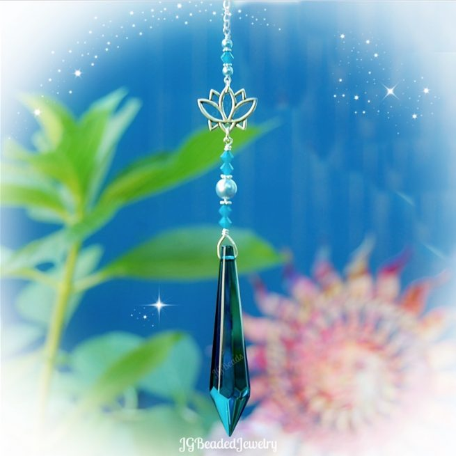 Lotus Flower Blue Teardrop Crystal Suncatcher