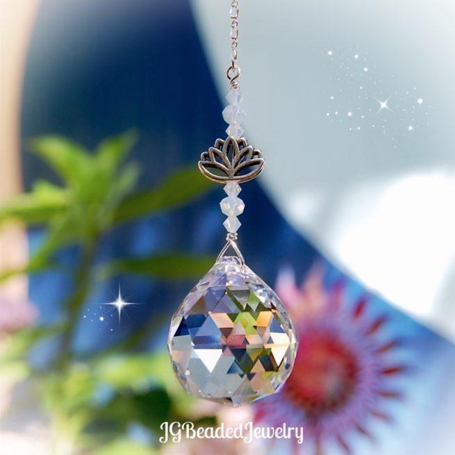 Lotus Flower Crystal Suncatcher
