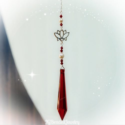 Lotus Flower Red Teardrop Crystal Suncatcher