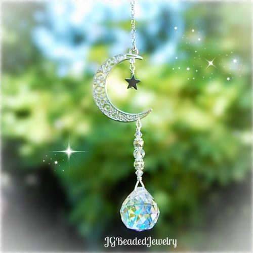 Moon and Star Crystal Suncatcher