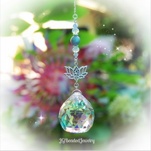 Om Lotus Flower Opal Blue Swarovski Crystal Suncatcher