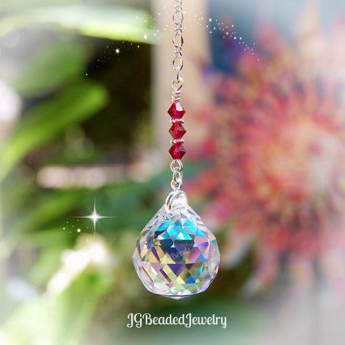 Ruby Red Swarovski Crystal Rainbow Suncatcher